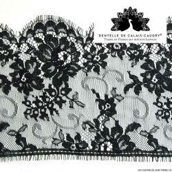 Ruban de Dentelle de calais® noir feston à fleurs au mètre