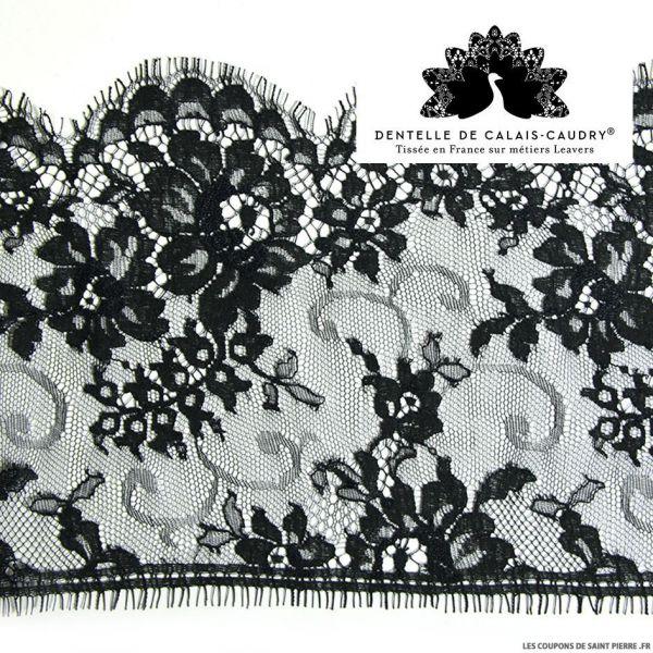 Ruban de Dentelle de calais noir feston à fleurs au mètre