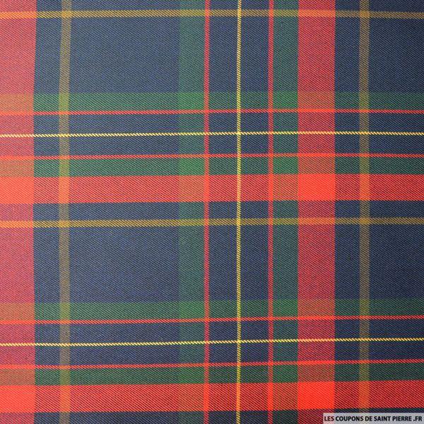 Tissu clan écossais rouge,marine et vert