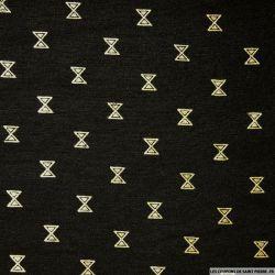 Polycoton imprimé sablier doré fond noir
