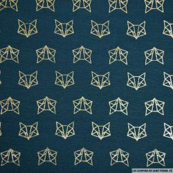 Polycoton imprimé renard doré fond bleu canard