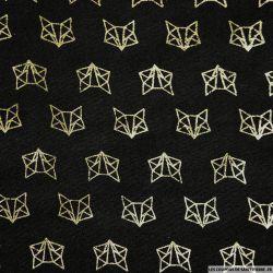 Polycoton imprimé renard doré fond noir