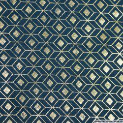 Polycoton imprimé scandinave doré fond bleu canard
