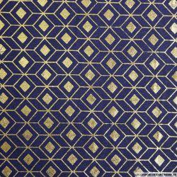 Polycoton imprimé scandinave doré fond indigo