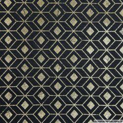 Polycoton imprimé scandinave doré fond noir