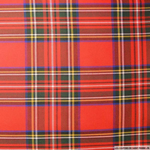 Tissu clan écossais rouge bleu et blanc