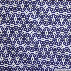 Polycoton imprimé japonais bleu
