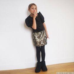 """Patron Modes & Travaux -  Patron fillette """"Top et jupe noir et or"""""""