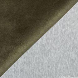 Scuba Suédine vert militaire double face molleton gris