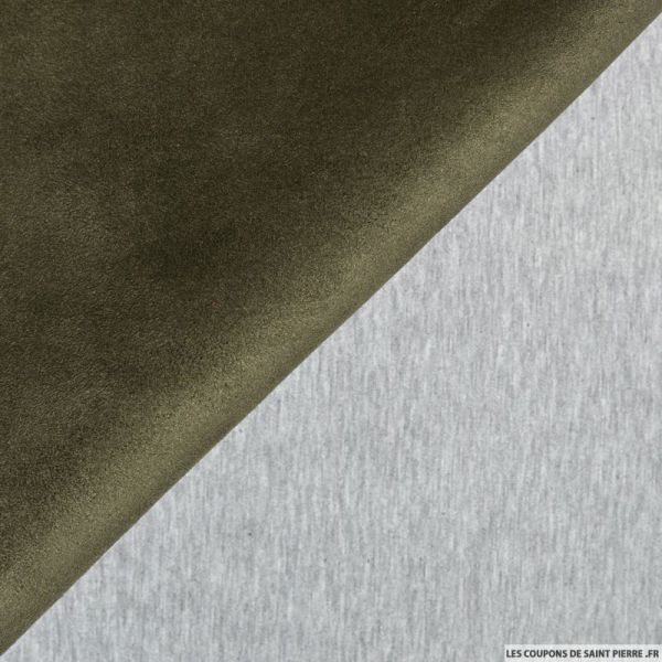 Suédine vert militaire double face molleton gris