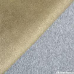 Scuba Suédine beige double face molleton gris