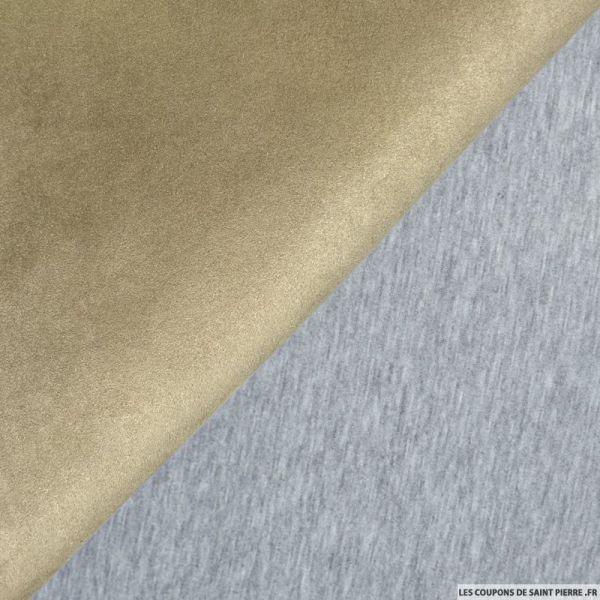 Suédine beige double face molleton gris