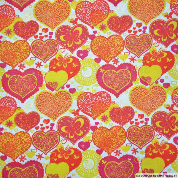 Coton imprimé coeur de noël rouge et vert anis