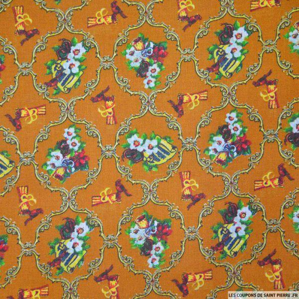 Coton imprimé arabesque de noël ocre