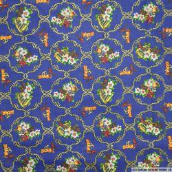 Coton imprimé arabesque de noël bleu