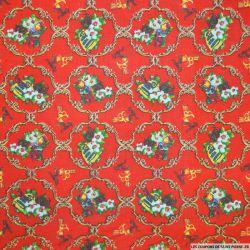 Coton imprimé arabesque de noël rouge