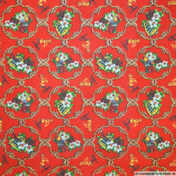Tissu coton imprim arabesque de no l rouge - Coupon de saint pierre ...