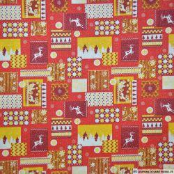 Coton imprimé cerf de noël rouge