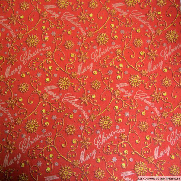Coton imprimé Merry Christmas rouge