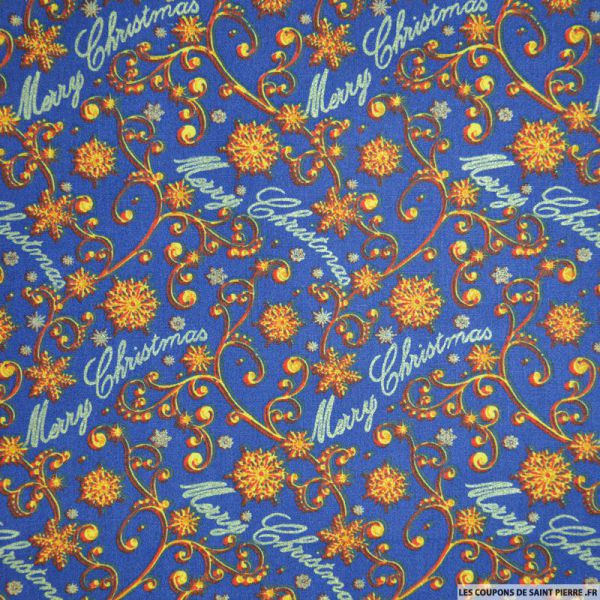 Coton imprimé Merry Christmas bleu