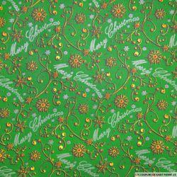 Coton imprimé Merry Christmas vert