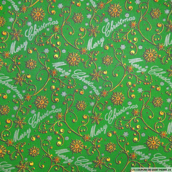 Tissu coton imprim merry christmas vert - Coupon de saint pierre ...