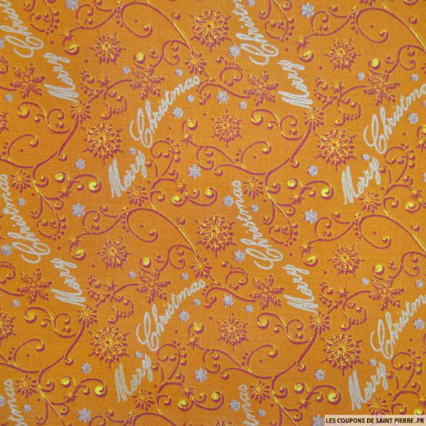 Tissu coton imprim merry christmas ocre - Coupon de saint pierre ...