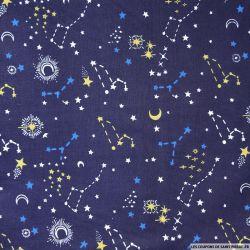 Polycoton imprimé étoiles fond marine