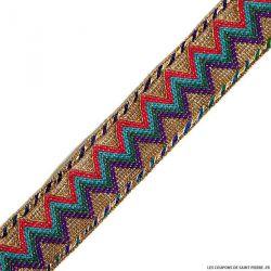 Galon ethnique zigzag violet au mètre