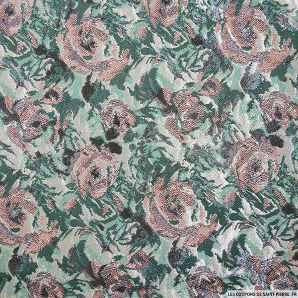 Brocart vert fleurs bucolique rose brillant