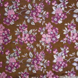 Brocart marron jardin japonais rose et argent brillant