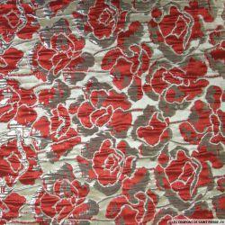 Brocart fleurs rouge argenté brillant