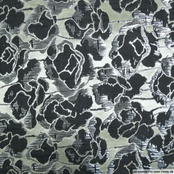 Brocart fleurs noir argenté brillant