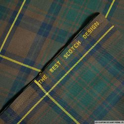 Clan écossais kaki et marine ligne jaune