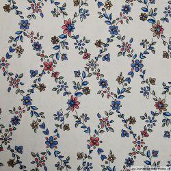 Tissu microfibre imprimé losanges fleuris fond beige