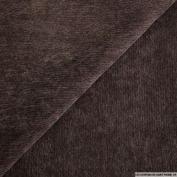 Velours polyester côtelé marron