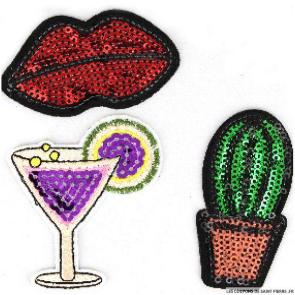 Écusson paillettes cactus à coudre ou à thermocoller