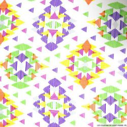 Tissu microfibre imprimé scandinave multicolore violet et vert
