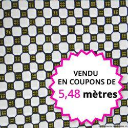 Wax africain boutons jaunes vendu en coupon de 5,48 mètres
