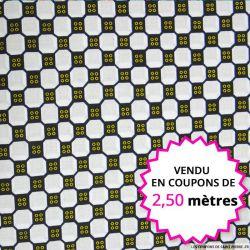 Wax africain boutons jaunes vendu en coupon de 2,50 mètres