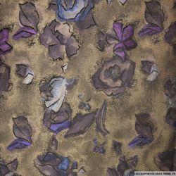Brocart tons marron fleurs violet et bleu