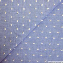 Voile de coton Plumetis bleu foncé