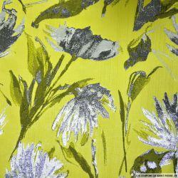 Brocart fleurs argent fond anis