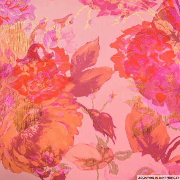 Brocart fleurs fuchsia fond rose