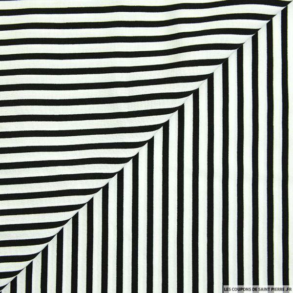 Viscose rayures fines noir et blanc