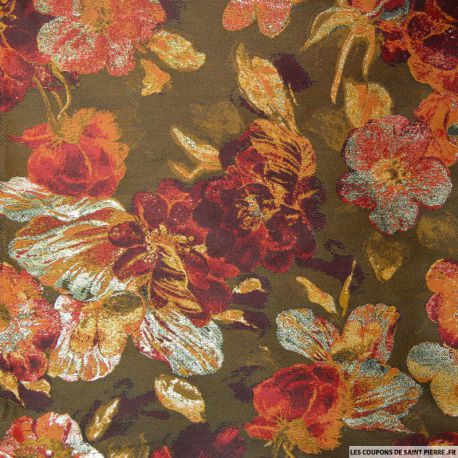 tissu brocart belles fleurs orang s. Black Bedroom Furniture Sets. Home Design Ideas