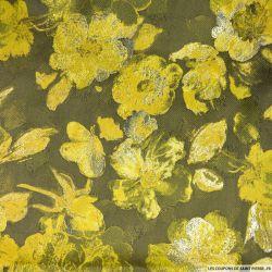 Brocart belles fleurs vert anis et kaki