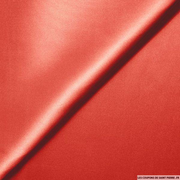 Satin de Soie élasthane rouge vermillon