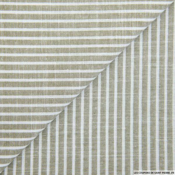 Chambray de coton rayé sable