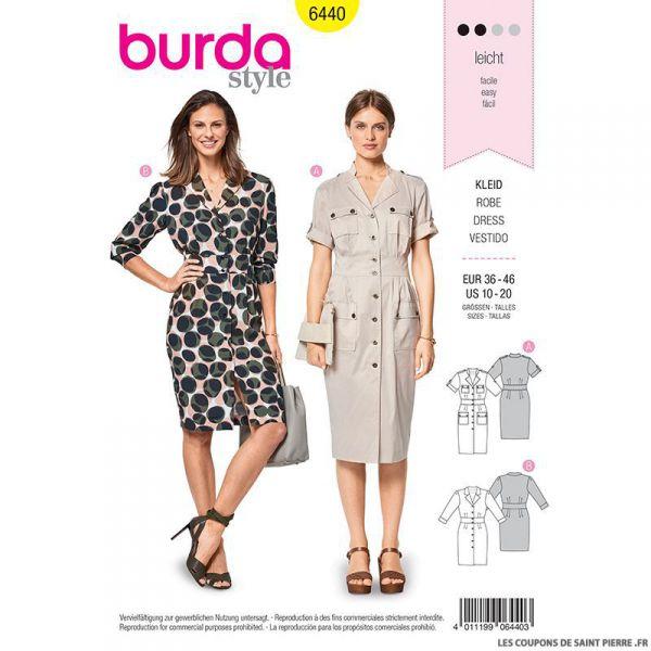 Patron Burda n°6440 : robe safari